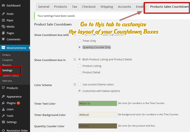 Products Sales Countdown Tab in WooCommerce Setting
